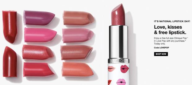 Clinique Canada National Lipstick Day Free Clinique Love Pop Lipstick Canadian Freebies 2018 2019 - Glossense