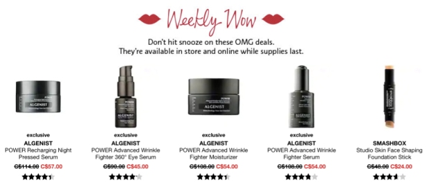 Sephora Canada Week of Wow Weekly Canadian Deals August 2 2018 - Glossense