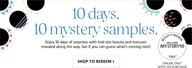 Sephora Canada Canadian Promo Codes 10 Days 10 Mystery Deluxe Samples Surprises September October 2018 - Glossense