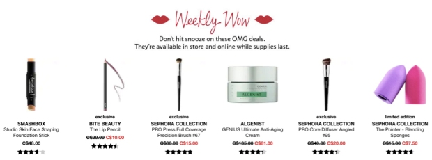 Sephora Canada Week of Wow Weekly Canadian Deals September 27 2018 - Glossense