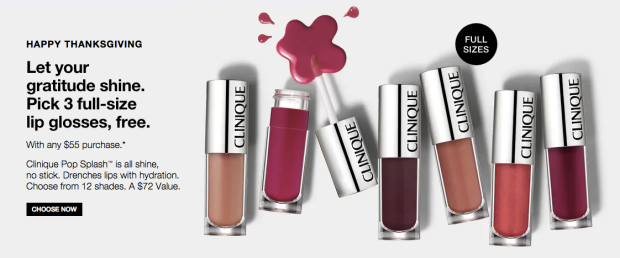 Clinique Canada celebrates Thanksgiving 3 Free Full-Size Pop Splash Lip Glosses with Purchase HOT Stack offers - Glossense