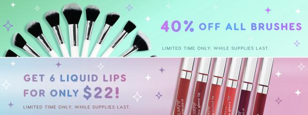 ColourPop Cosmetics Canada Canadian Black Friday Cyber Week Monday 2018 2019 Save on Brushes and Liquid Lip Lipstick Lippies Lippy - Glossense