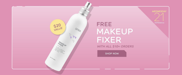 Ofra Cosmetics Canada BFCME Daily Deal Discount GWP Free Makeup Fixer 2018 Canadian Black Friday Cyber Monday Event November 21 2018 2019 - Glossense