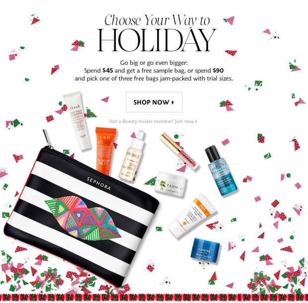 Sephora Canada Canadian Promo Coupon Code 2018 Choose Your Free Holiday Christmas Gift Goody Goodie Bag with Purchase GWP Canadian Freebies - Glossense
