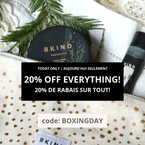 BKIND Natural Skincare and Gifts Canada 2018 Canadian Boxing Day Sale Deals Discount Promo Savings - Glossense