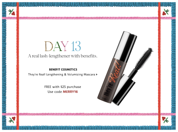 Sephora Canada Merry Mysteries 2018 Canadian Daily Free Item Freebie Freebies Promo Code Coupon Codes Christmas Holiday Beauty Insider BI VIB Rouge Bonus Offer Free Deluxe Sample Samples Mini Day 13 Benefit Cosmetics They're Real Mascara - Glossense