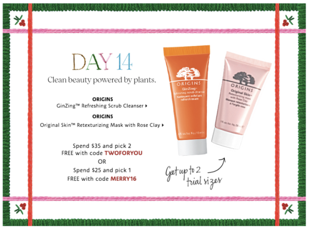 Sephora Canada Merry Mysteries 2018 Canadian Daily Free Item Freebie Freebies Promo Code Coupon Codes Christmas Holiday Beauty Insider BI VIB Rouge Bonus Offer Free Deluxe Sample Samples Mini Day 14 Origins Ginzing Scrub Rose Mask - Glossense