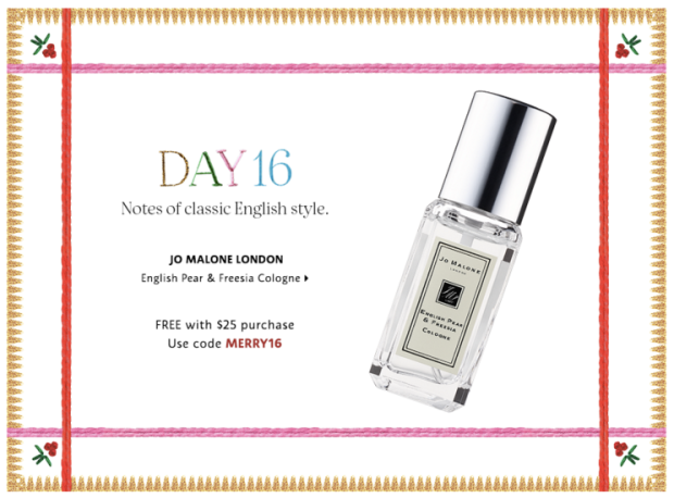 Sephora Canada Merry Mysteries 2018 Canadian Daily Free Item Freebie Freebies Promo Code Coupon Codes Christmas Holiday Beauty Insider BI VIB Rouge Bonus Offer Free Deluxe Sample Samples Mini Day 16 Jo Malone London Cologne Fragrance Perfume - Glossense