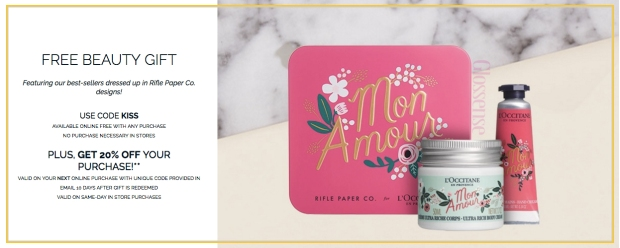 LOccitane Canada Canadian Freebies Free Beauty Gift Valentines Day 2019 Kiss Promo Code