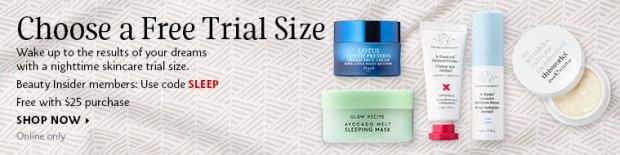 Sephora Canada Canadian Promo Code Beauty Offers Coupon Code GWP Free Gift Sleep Nighttime Skincare Skin Care Sample Samples - Glossense