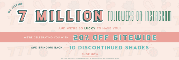 ColourPop Cosmetics Canada 7 Seven Million Instagram Followers Canadian Sale Promotion Discount Deal Promo February 2019 - Glossense
