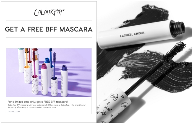 ColourPop Cosmetics Canada Canadian Freebies Free ColourPop BFF Volumizing Mascara - Glossense