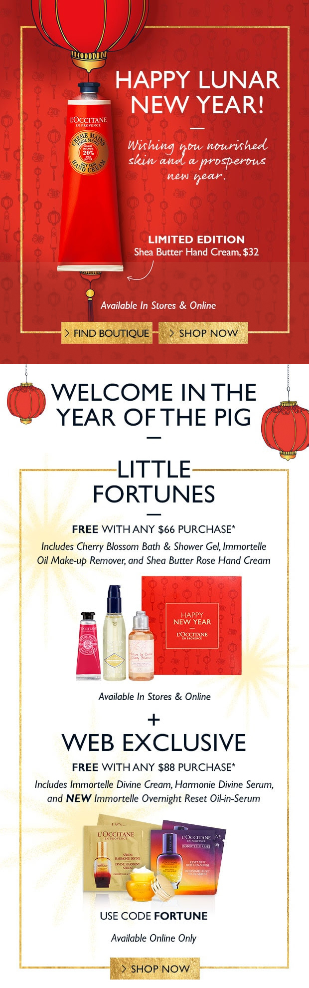 L'Occitane Canada 2019 Canadian Chinese New Year Lunar New Year Lucky Little Fortune Fortunes Promo Code Coupon Code GWP Free Gift Sets - Glossense