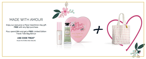 L'Occitane en Provence Canada 2019 Canadian Valentine's Day Promotion Promo Code Coupon Codes Offer GWP Free Gift Set Tote Bag Treat - Glossense