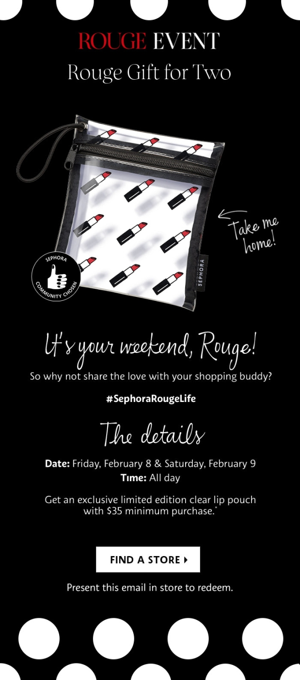 Sephora Canada Canadian Beauty Insider Rouge Event Exclusive February 2019 GWP Free In Store Rouge Gift with Purchase Lipstick Purse Clutch Lip Pouch - Glossense