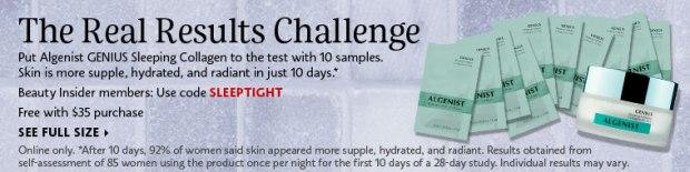 Sephora Canada Canadian Promo Code Coupon Beauty Offer Free Algenist Genius Sleeping Collagen Set 10 Free Samples - Glossense