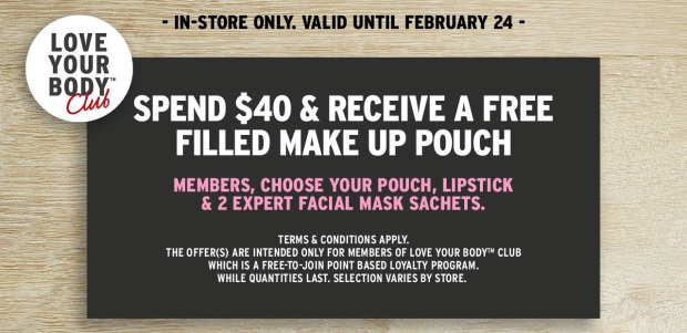 The Body Shop Canada 2019 Valentine's Day Canadian Promotion Free Makeup Pouch Filled with Samples Lipstick Facial Mask Sachets - Glossense