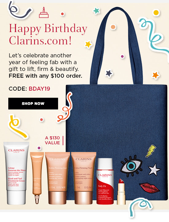 Clarins Canada Happy Birthday Event Canadian GWP Free Tote Bag Plus Free Samples Gift with Purchase Promo Code Coupon Offer Spring 2019 - Glossense