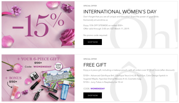 Lancome Canada Canadian International Women's Day Promotions Exclusive Online GWP Offers Free Gift Canadian Freebies Deals Sale Promo Code 2019 - Glossense