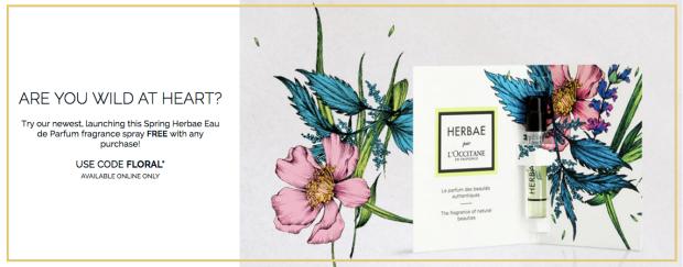 L'Occitane en Provence Canada Canadian Freebies GWP Free Spring Herbae Eau de Parfum Perfume Fragrance Sample Tester Vial Floral Promo Code Coupon Offer Gift - Glossense