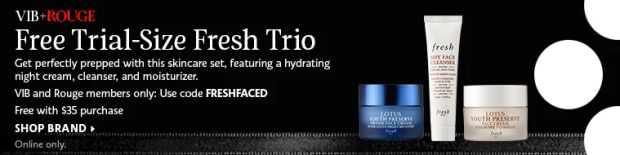 Sephora Canada Beauty Insider Gift March 2019 Rouge VIB Free Canadian Fresh Trio Skincare Set Night Cream Cleanser Moisturizer GWP Gift with Purchase Promo Code - Glossense