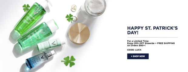 Vichy Canada St Patrick's Day LUCK Canadian Sale Deals Promo Code Skincare Beauty Promotion March 2019 - Glossense